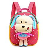 Comfysail Polka Dot Printed Canvas Kids Backpack with 3D Detachable Lovely Puppy Doll Plush Toy - Best Gift for Under 5 years old Nursery Toddler Baby Boys Girls Daily Use (Red)