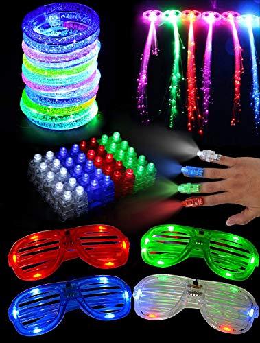 Danolt Leuchtendes Spielzeug, 60 Pcs LED Party Favors Einschließlich 40 LED Blinkend Finger Lichter, 10 LED Luftblasen Armbänder, 6 LED Faseroptik Haarverlängerungen, 4 Partybrille