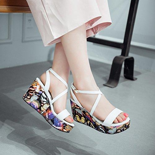 YE Damen Offene 8CM Heels High Heel Plateau PU Leder Blumen Wedges Keilabsatz Riemchen Sandalen Sommer Schuhe Weiß