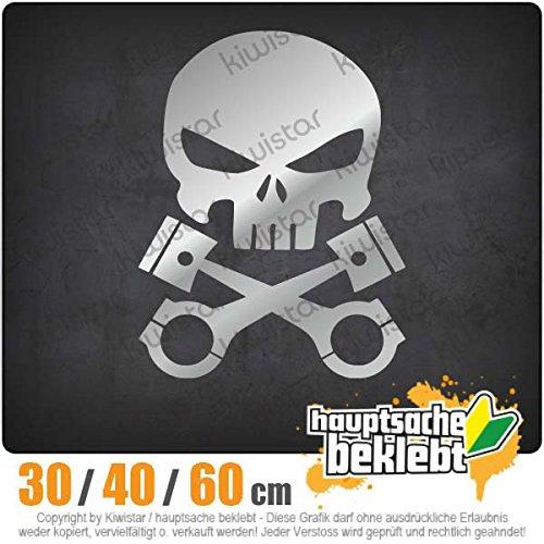 Kolben Skull Schädel - in 3 Größen erhältlich Heckscheibenaufkleber Carsticker Decal -