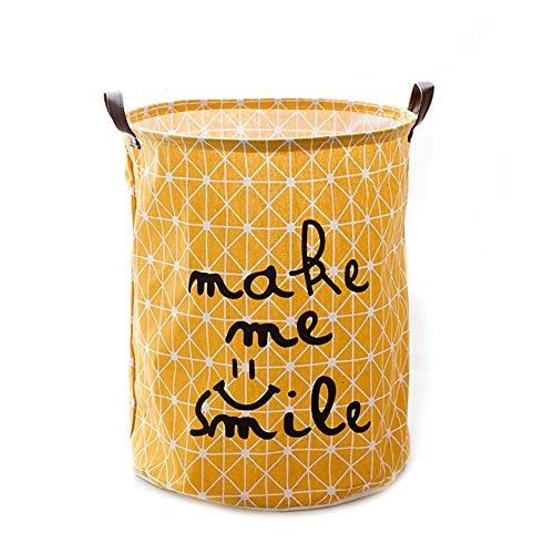 Kumkey Baumwolle Leinen Wäschekorb Faltbar Wasserdicht Wäschebox Schmutzige Kleidung Wäschesammler Aufbewahrungsbox Laundry Bucket Kinder Spielzeug Organizer Storage Basket (Gelb-Smile) (Faltbare Stoff Baskets)