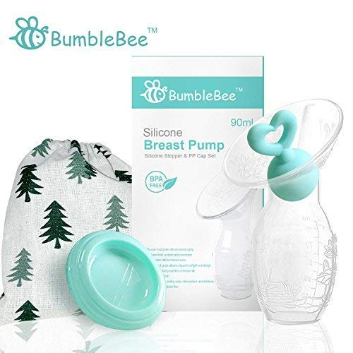 Bumblebee Manual Breat Pump with breatsfeeding Milk Saver Stopper& Lid in Gift Box Food Grade Silicone BPA PVC and Phtalate Free