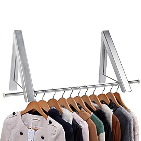 Bedee® Indoor / Outdoor Aluminum Folding Wall Hanger Clothes Hanger Rack Space Saving Clothes Storage Organiser for Laundry / Bathroom / Utility Room / Bedroom / Wardrobe (Pack of 2, Extra Clothesline Pole included)