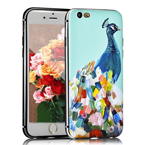 iPhone 8 Hülle, Sunroyal TPU 3D Handyhülle Muster Case Cover Für iPhone 7 / iPhone 8 4,7 Zoll (Bunt Vogel) Silikon Backcover Case Handy Schutzhülle - Cover Cartoon Garten Aquarell Design Mehrfarbig 3D Pattern 9