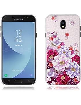 Fundas Carcasas para Samsung Galaxy J7(2017) J730F/J7pro, Gel de Silicona TPU Carcasas- FUBAODA- Flores en Profusión...