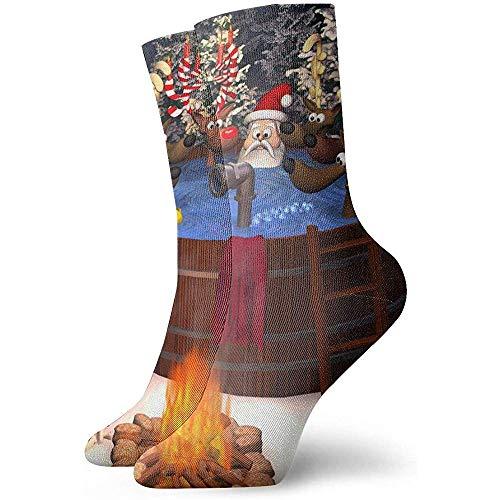 3D-Cartoon-Illustration mit Santa Claus und Mehreren Rentieren in einem Outdoor-Whirlpool Socken Crew