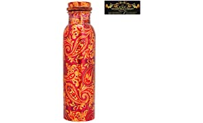 CROCKERY WALA AND COMPANY 1 LTR Leak Proof Ethnic Printed Copper Water Bottle, for Travel Purpose