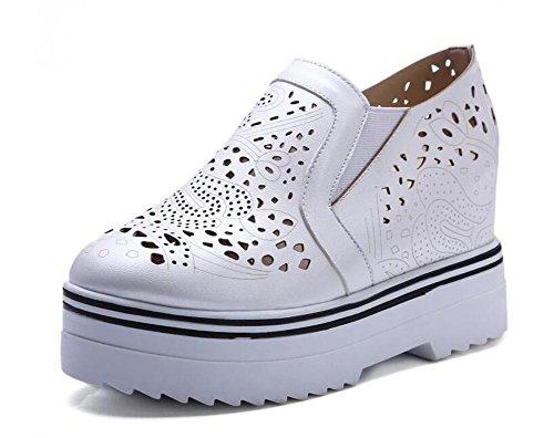 OL Loafers Büros Hollow Elevator Plattform Schuhe Round-toe Frauen Casual Hochzeit Vintage Schuhe Europa Größe innerhalb Customized Biger Größe 34-43 White