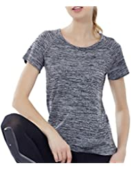 Smile YKK Women Sport Quick Dry Regular Short Sleeve Yoga T Shirt