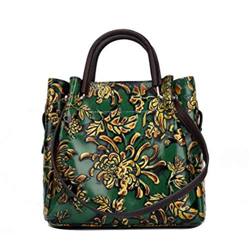 Retro-Stil Hand Bemalte Farbe Blumen Handtaschen Dreidimensional Geprägte Damen Diagonal Große Mode-Handtasche-Mittelgroße Lange Riemen-Schultertasche,Green,OneSize - Geprägte Mode Handtasche