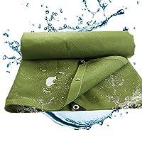 BAOFI Tarps Heavy Duty Waterproof 12x24, 24 mil Multi-PurposeHeavy Duty Canvas Tarpaulin Grommets,Waterproof Fireproof Sunscreen/Weather-Resistant,12x15Ft/4x5m