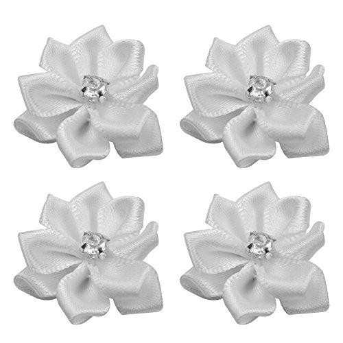 40 Stück Handgefertigt Satin Blumen mit Strass Applikationen Tischdeko Taufe Kommunion Blumen