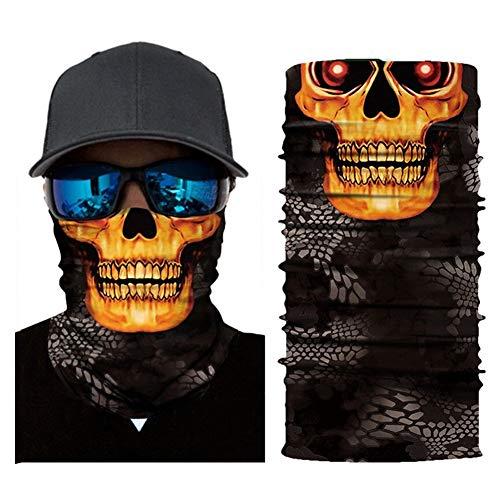 Ydfq 2 Stücke Festival Schädel Masken Radfahren Motorrad Halsrohr Ski Schal Gesichtsmaske Sturmhaube Halloween Party Ghost Halbe Gesichtsmaske (Color : C) -