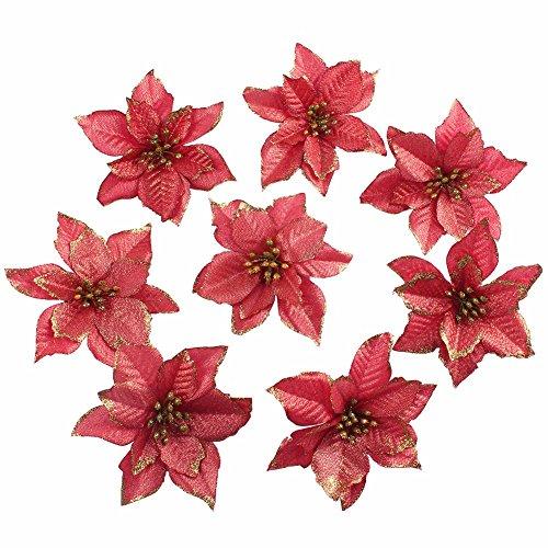 Amajoy, fiori finti con glitter, fiori ornamentali per natale o per matrimoni, 12 pezzi, 14cm red