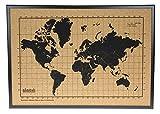 Milimetrado - Mappa del mondo bacheca in sughero/Mappa del mondo Poster in sughero con cornice in legno di pino - 50 x 70 cm - Nero