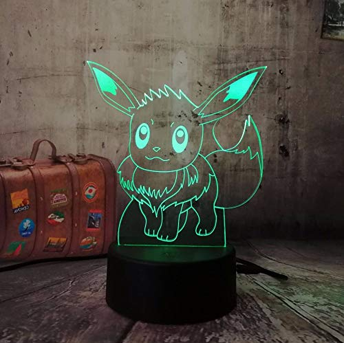 2 paket, 3d für pokemon gehen spiel, c eevee rc usb spielzeug nachtlicht action led spielzeug lampe 7 bunte ändern kind geschenk geburtstag halloween weihnachten lampe