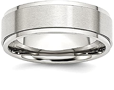 Stainless Steel Ridged Edge 7mm Brushed And Polished Wedding Ring Band