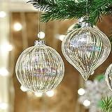 Valery Madelyn 4 Stücke 8CM Glas Weihnachtskugeln Funkelnder Winter Thema Große Christbaumkugeln Set mit Aufhänger Christbaumschmuck Dekoration