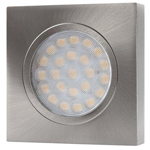 LED Aluminium Aufbaustrahler eckig – DIMMBAR – 2W 120lm – edelstahl-gebürstet – warmweiß (3000 K) - 2