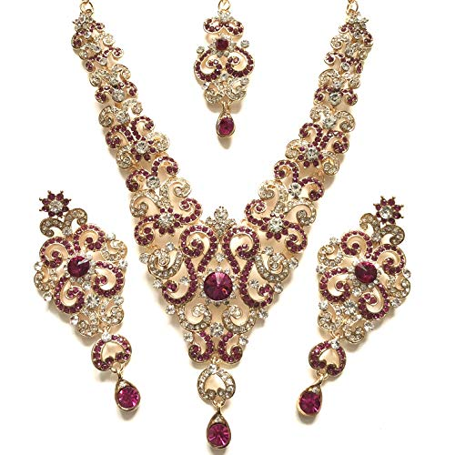 f79e1920ba8c Pink Gold Bollywood Indian Inspired Crystal Studded Costume Jewellery Set  with Necklace Earrings and a Head