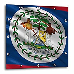 3dRose dpp_178790_2 Flag of Belize Waving in The Wind-Wall Clock, 13 by 13-Inch