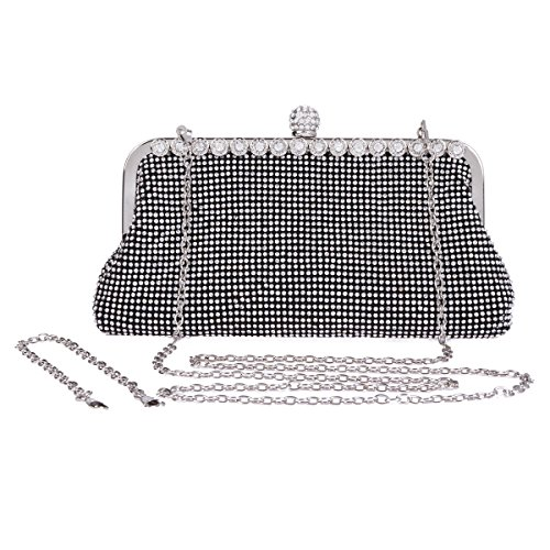 Damara da donna Wedding perline Strass sera borsa Black