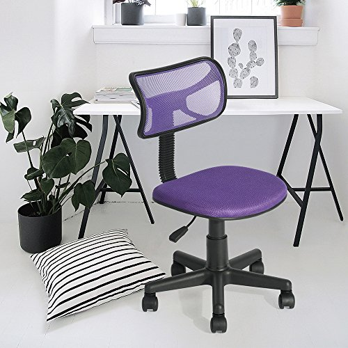 Silla de oficina fanilife ajustable diseño de malla para ordenador asiento giratorio de escritorio Task silla sin reposabrazos silla de estudio de los niños, color morado