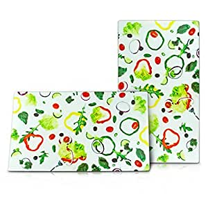 Protège-plaque Plaque de protection pour cuisinière Planche à découper 2 pièces en Verre multicolore Design légumes