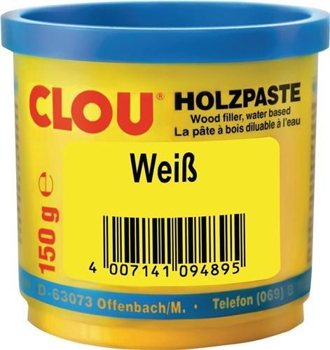 Clou Holzpaste zum Reparieren und Auskitten von Holzschäden weiß, 150 g: Holz Spachtelmasse zum Ausbessern von Löchern, Dellen, Rissen in Möbeln, Türen, Parkett und Laminat – gebrauchsfertige Paste geeignet für den gesamten Innenbereich