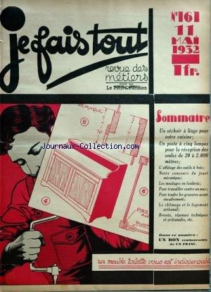 JE FAIS TOUT [No 161] du 11/05/1932