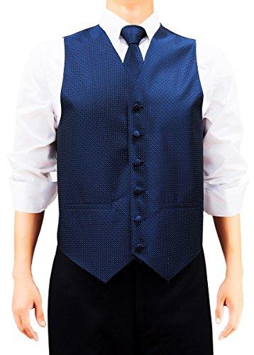 Retreez Herren Check Strukturierte Woven Weste mit Krawatte, Fliege, Pocket Geschenk-Box Set, quadratisch Marineblau