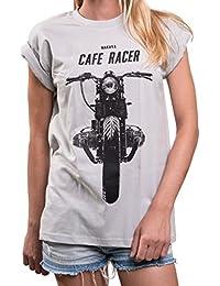Cafe Racer T-Shirt mit Motorrad Print - Boxer Twin - Rundhals Top lässig oversize