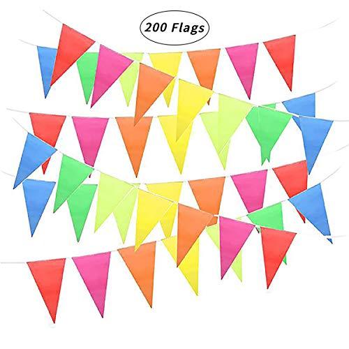 gs Mehrfarbig Bunting Banner Flags 80m/260ft Stoff Nylon Dreieck Flagge für Festival Hochzeit Garten Halloween Weihnachtsfeier Indoor Outdoor Geburtstag Party Dekoration ()