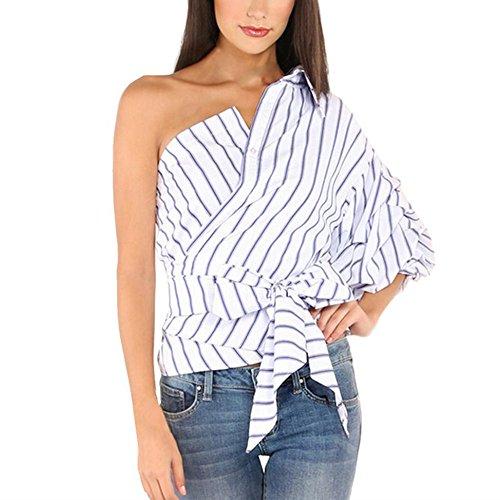 WOCACHI Damen Tops Frauen gestreifte Blusen eine Schulter Halb Hauchhülsent Shirts Bogen dünne Taillen Tops Blau Blau