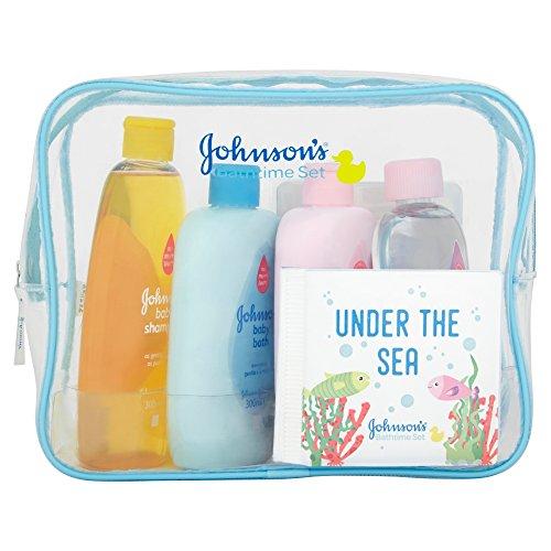 Johnsons Baby Bathtime Geschenkset (Lotion, Bad, Shampoo, Öl, Schwamm, Buch, Meilensteinkarten) - Baby-shampoo-lotion