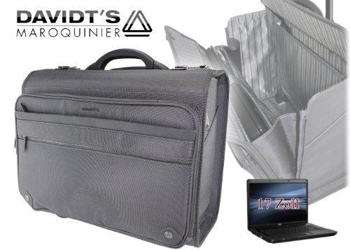 RAUMWUNDER Business Laptop Notebook Trolley Trolleytasche Bürotasche mit Laptopfach 15,4 Zoll Koffer Trolley Rollen Bord Gepäck (Grau) Grau