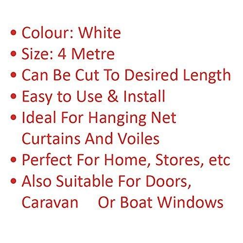 Vorhang Draht mit 16Haken & Augen weiß farbige ideal für Windows Tür Home Dusche Caravan Aufhängen Ring Voile Schraube Stange Schiene Jalousien Net Kabel Saite Bildschirm (Tür Curtian)