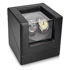 Navaris Uhrenbeweger in Carbon Optik – für 2 Automatikuhren – 20 x 18 x 18cm – 4 Modi Uhren Beweger Uhrenbox mit Netzteil – Uhrendreher in Schwarz