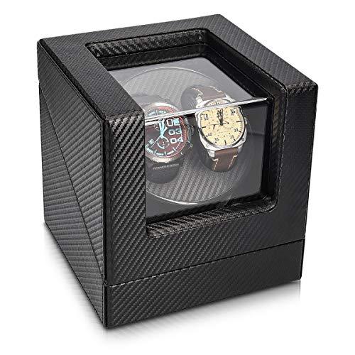 Navaris Caricatore custodia orologio automatico - x2 orologi silenzioso 4 programmi - Scatola carica orologi automatici cofanetto in similpelle nero