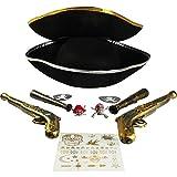 com-four® Zubehör-Set I. für Piraten-Kostüme - Ideal für Karneval, Motto-Partys und Kostümveranstaltungen (11-teilig - für 2 Erwachsene)