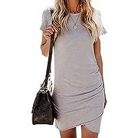 Mode Frauen Sexy Kleider Für Frauen Kurzarm Taschen Unregelmäßige Bodycon Minikleid Verschiedene Farben-Größen S-XL