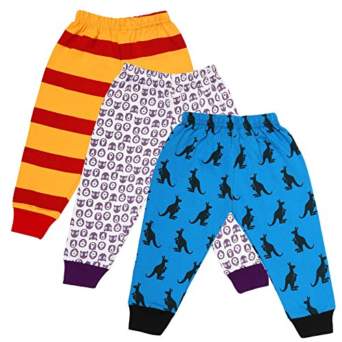 Tiddlee Baby Kids Clothes - for Girls and Boys - Children Combo set - Pack of 3 Printed Multicolour Pajama Pants / Legging / Pajami / Lower / Trouser / Pyjama with colored Rib - Soft & 100% hosiery cotton - Multi-color - Child Skin friendly, Durable & High Quality Coloured Clothing Apparel - (18-24 months) - (1.5-2 years)  available at amazon for Rs.299