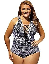 9be880874f3 SoonerQuicker Tamaño Grande - Bikini de una Pieza de Talla Grande para Mujer  Traje de baño