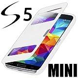 Flip Cover Tasche Samsung Galaxy S5 Mini SM-G800 Schutz Hülle Case Weiss + mit Sichtfenster + Folie