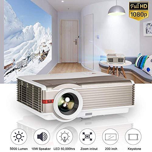 5000 Lumen WXGA HD 1080p LED LCD Film Proiettore per esterni Proiettore home cinema Videoproiettore con doppio HDMI USB VGA AV Audio Altoparlanti per smartphone Android iPhone iPad DVD Wii PS4