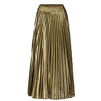 WSPLYSPJY Women's High Waist Metallic Pleated Skirt A-Line Retro Midi Skirts 1 M
