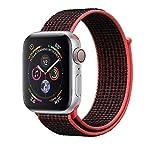 Corki für Apple Watch Armband 38mm 40mm, Weiches Nylon Ersatz Uhrenarmband für iWatch Apple Watch Series 4 (44mm), Series 3/ Series 2/ Series 1 (42mm), Bright Crimson/Schwarz