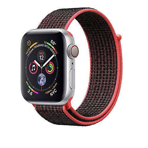 Corki für Apple Watch Armband 38mm 40mm, Weiches Nylon Ersatz Uhrenarmband für iWatch Apple Watch Series 4 (44mm), Series 3/ Series 2/ Series 1 (42mm), Bright Crimson/Schwarz