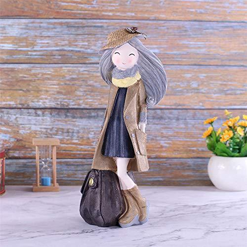 AMMYTE Ziehen Gepäck Schöne Mädchen Modell Desktop Ornamente Stewardess Puppe Home Decoration Harz Geschenke -