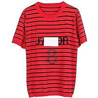 Good dress Camisa de Manga Corta con Cuello Redondo Y Camiseta de Manga Corta, Suéter Fino, BF, Suéter, Ropa de Mujer, Rojo, s